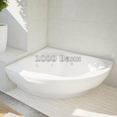 Ванна акриловая АКВАТЕК Галатея 135х135 (с гидромассажем) Flat Chrome