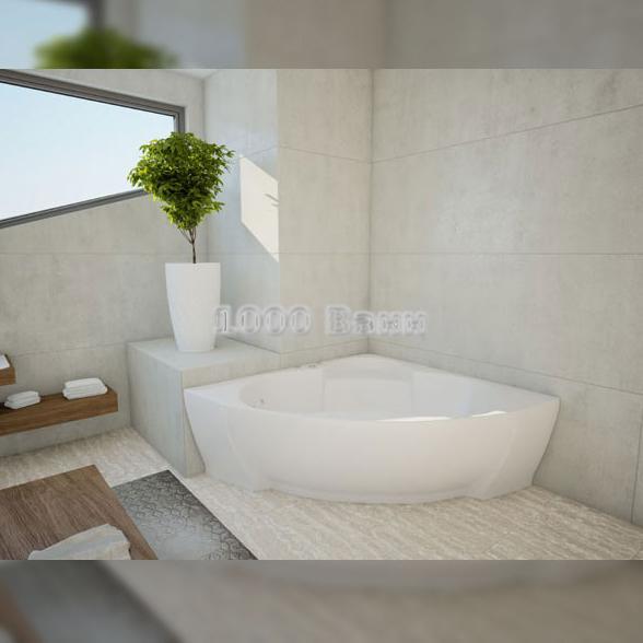 Ванна акриловая АКВАТЕК Поларис-2 155х155 (с гидромассажем на электроуправлении) Flat Chrome