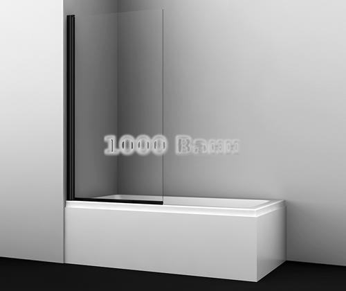 Стеклянная шторка на ванну WasserKRAFT Berkel 48P01-80 BLACK 800x1400